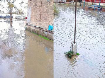 Sumqayıtda evləri su basıb - FOTOLAR