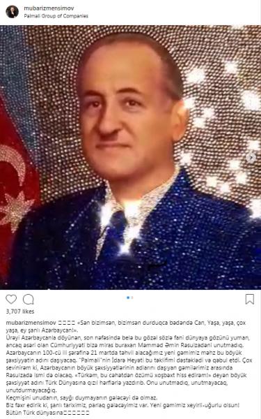 Mübariz Mənsimov yeni gəmisinə Rəsulzadənin adını verdi - FOTO